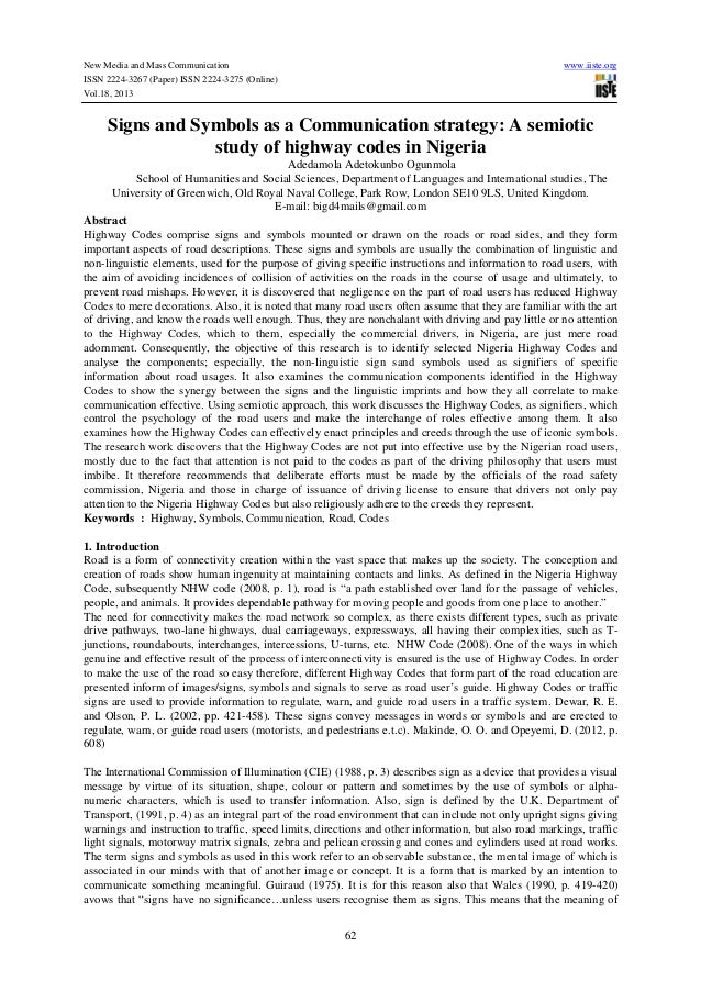 New Media and Mass Communication ISSN 2224-3267 (Paper) ISSN 2224-3275 (Online) Vol.18, 2013  www.iiste.org  Signs and Sym...