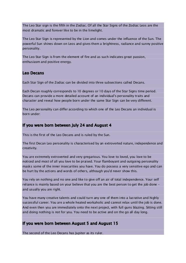 Leo Decan 2 ~ Aug 3 to 12 (10º-20º)