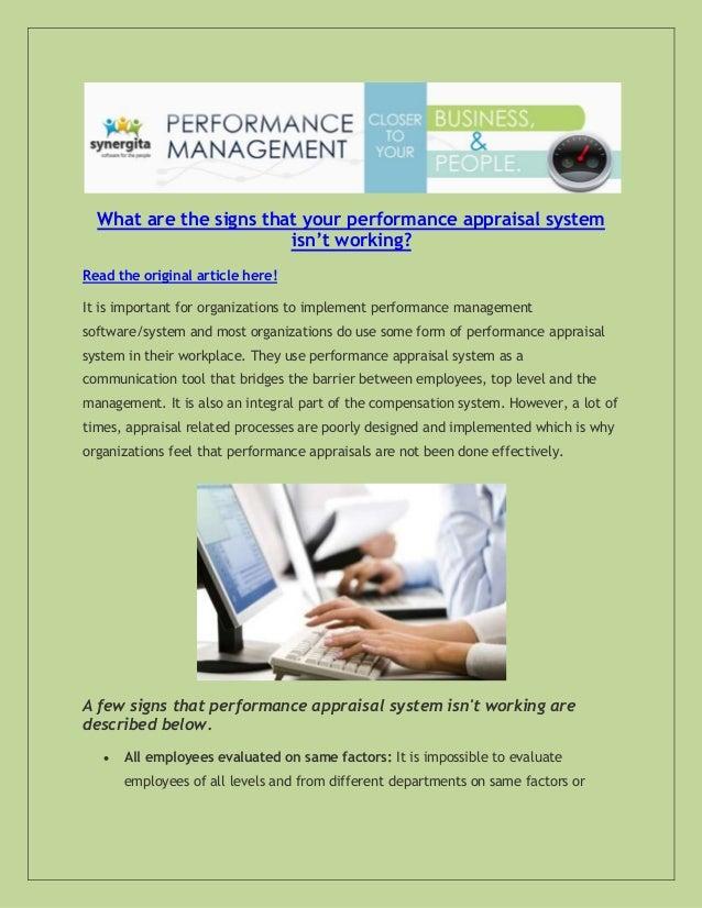 What are the signs that your performance appraisal system isn't working? Read the original article here! It is important f...