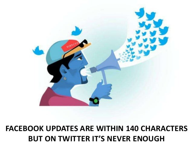 FACEBOOK UPDATES ARE WITHIN 140 CHARACTERS BUT ON TWITTER IT'S NEVER ENOUGH