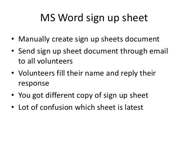 online signup sheets
