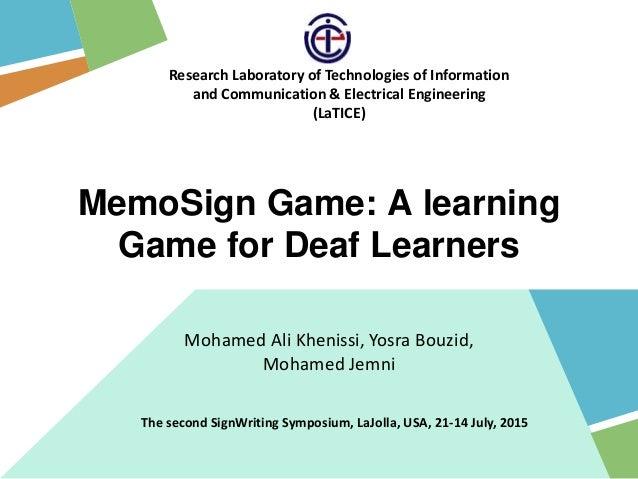 Mohamed Ali Khenissi, Yosra Bouzid, Mohamed Jemni Research Laboratory of Technologies of Information and Communication & E...