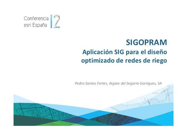 SIGOPRAM   Aplicación SIG para el diseño   optimizado de redes de riegoPedro Santos Fortes, Aigües del Segarra Garrigues, SA