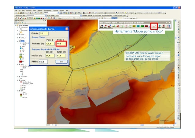 El proyecto de una red de riego con SIGOPRAM  4 – ANALISAR EL DIMENSIONADO OBTENIDO  Utilizar las herramientas especificas...