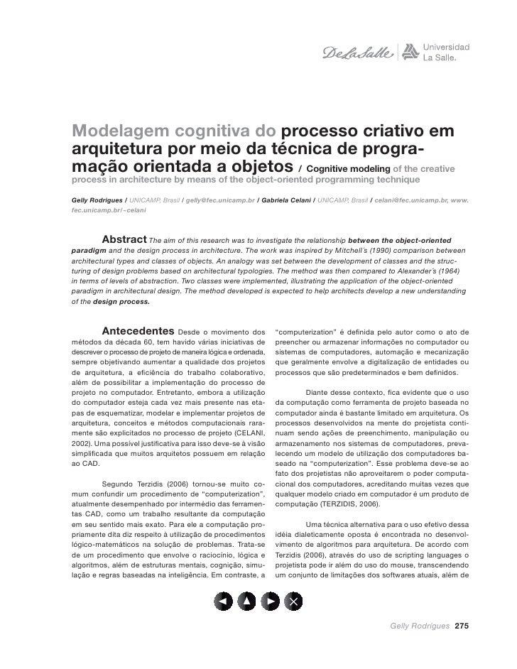 Modelagem cognitiva do processo criativo em arquitetura por meio da técnica de progra- mação orientada a objetos / Cogniti...