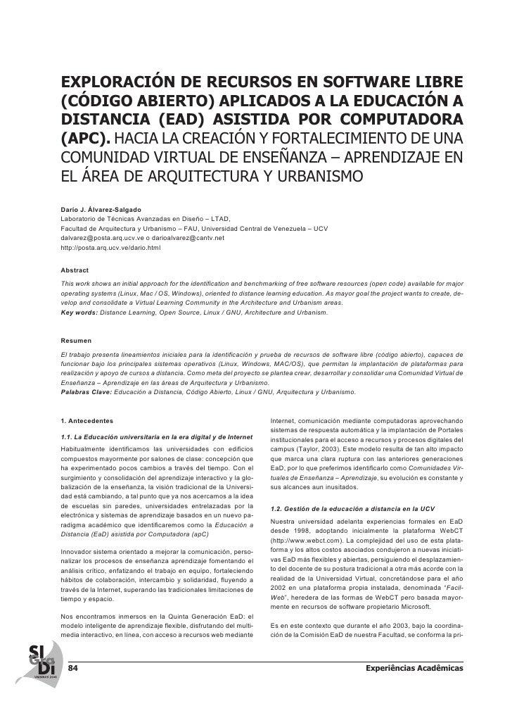 EXPLORACIÓN DE RECURSOS EN SOFTWARE LIBRE(CÓDIGO ABIERTO) APLICADOS A LA EDUCACIÓN ADISTANCIA (EAD) ASISTIDA POR COMPUTADO...