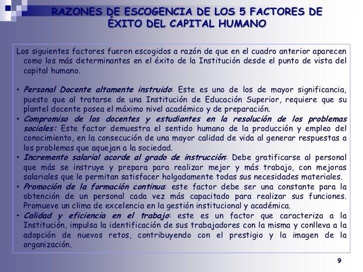 RAZONES DE ESCOGENCIA DE LOS 5 FACTORES DE ÉXITO DEL CAPITAL HUMANO<br /><br />Los siguientes factores fueron escogidos a...