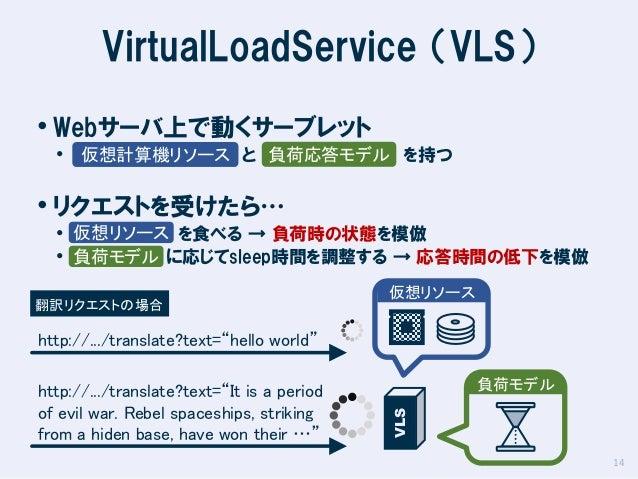 VirtualLoadService (VLS) • Webサーバ上で動くサーブレット  • 仮想計算機リソース と 負荷応答モデル を持つ  • リクエストを受けたら…  • 仮想リソース を食べる → 負荷時の状態を模倣 • 負荷モデル に...