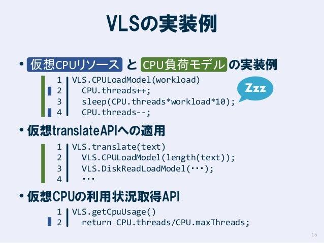 VLSの実装例 • 仮想CPUリソース と CPU負荷モデル の実装例 1 2 3 4  VLS.CPULoadModel(workload) CPU.threads++; sleep(CPU.threads*workload*10); CPU...