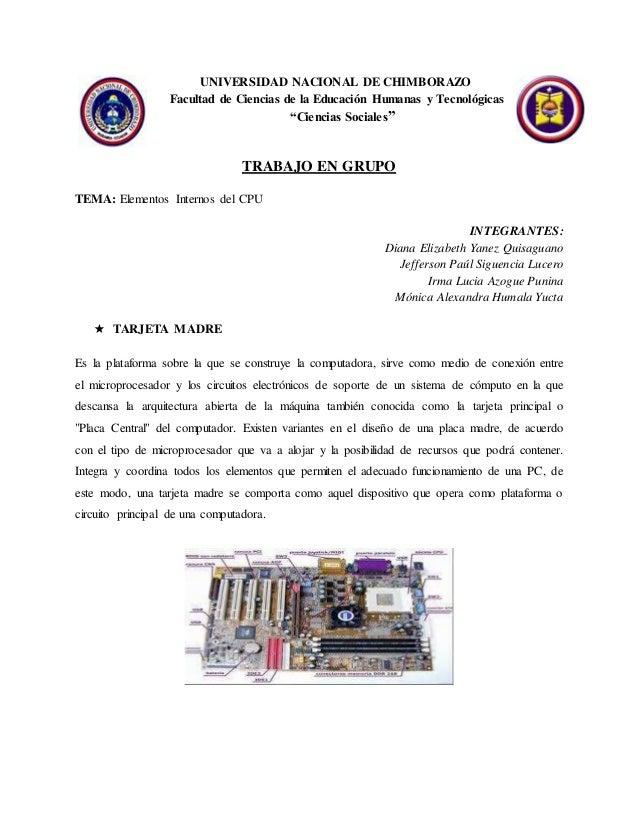 """UNIVERSIDAD NACIONAL DE CHIMBORAZO Facultad de Ciencias de la Educación Humanas y Tecnológicas """"Ciencias Sociales"""" TRABAJO..."""