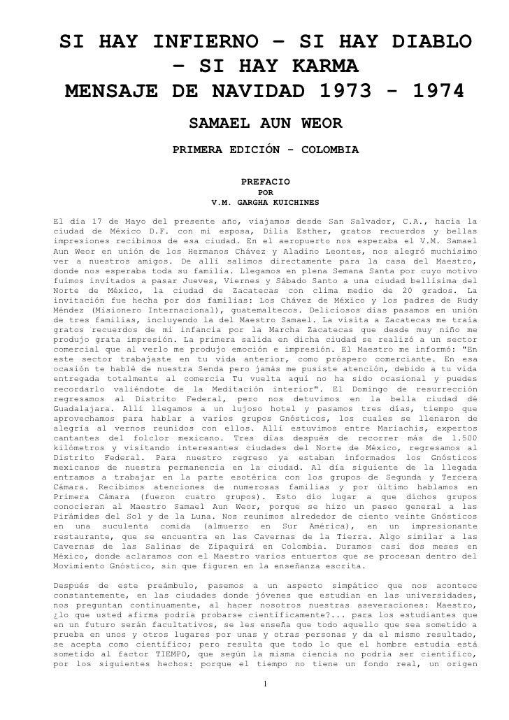 SI HAY INFIERNO – SI HAY DIABLO           – SI HAY KARMA   MENSAJE DE NAVIDAD 1973 - 1974                           SAMAEL...