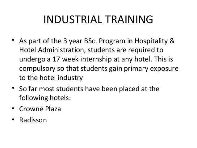 internship report on hotel industry Our front desk hospitality internship start dates are flexible we have students starting internships almost every monday of the year (except in december and the first week of january.