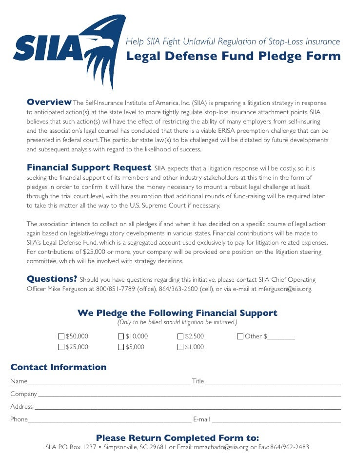 Help SIIA Fight Unlawful Regulation of Stop-Loss Insurance                                         Legal Defense Fund Pled...