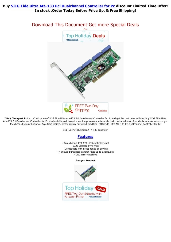 Buy SIIG Eide Ultra Ata-133 Pci Dualchannel Controller for Pc discount Limited Time Offer!                 In stock ,Order...