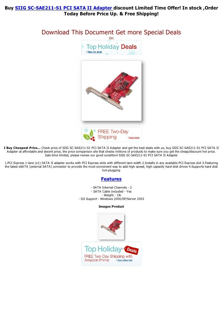 Buy SIIG SC-SAE211-S1 PCI SATA II Adapter discount Limited Time Offer! In stock ,Order                      Today Before P...