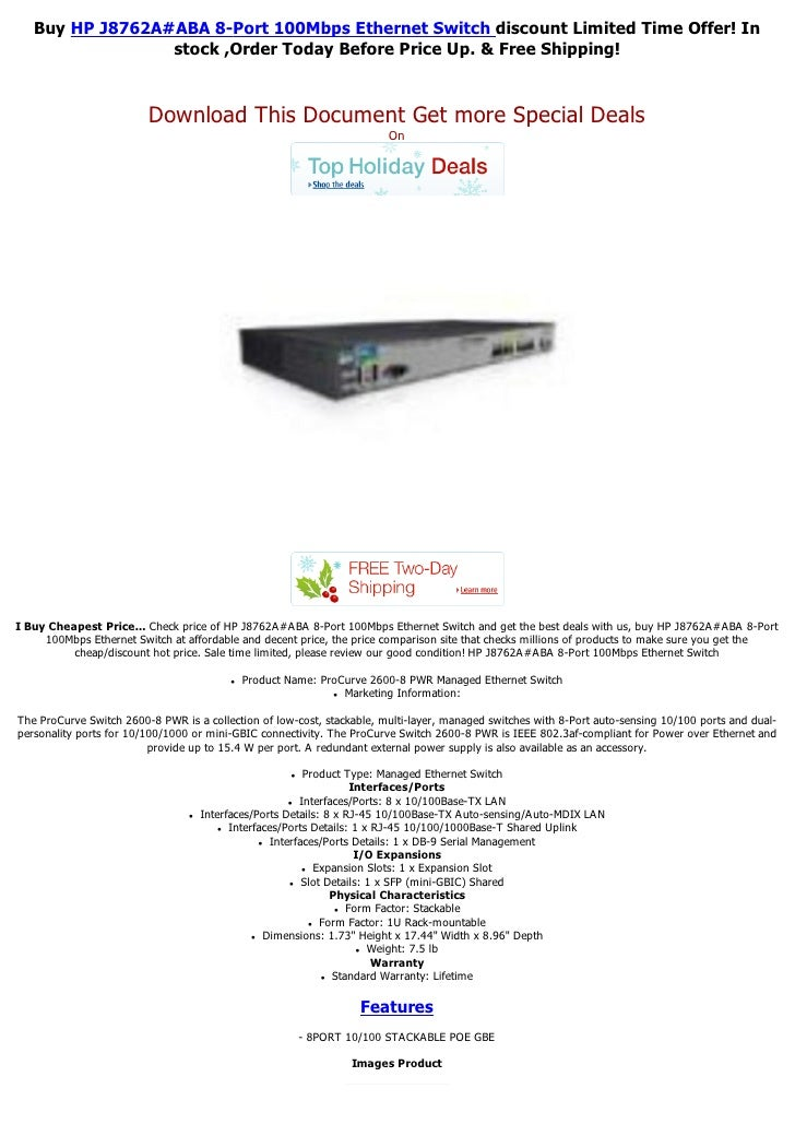 Buy HP J8762A#ABA 8-Port 100Mbps Ethernet Switch discount Limited Time Offer! In                 stock ,Order Today Before...