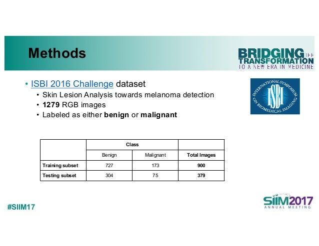 #SIIM17 Methods • ISBI 2016 Challenge dataset • Skin Lesion Analysis towards melanoma detection • 1279 RGB images • Labele...