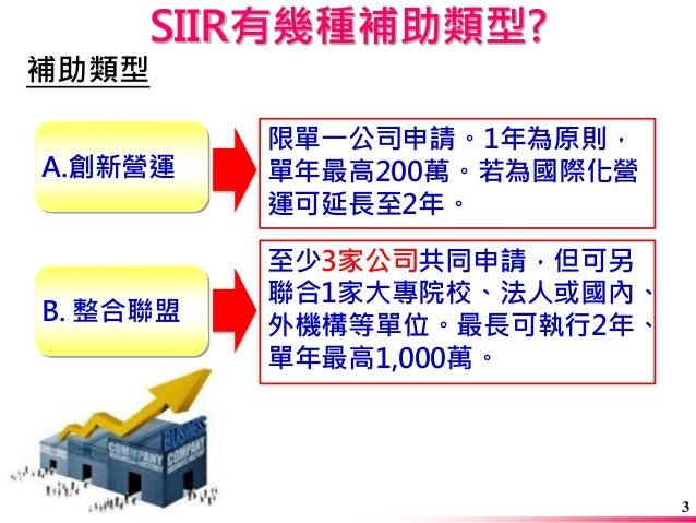 SIIR有幾種補助類型?  補助類型  A.創新營運  B. 整合聯盟  至少3家公司共同申請,但可另 聯合1家大專院校、法人或國內、 外機構等單位。最長可執行2年、 單年最高1,000萬。  限單一公司申請。1年為原則, 單年最高200萬。若...