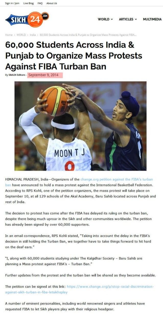 60,000 Students Across India & Punjab to Organize Mass Protests Against FIBA Turban Ban