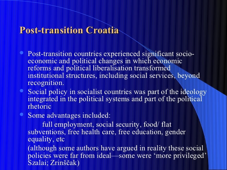 the economic transition of croatia The croatian economy has recorded the highest rates of gdp growth (5-6  percent for 1995-96) among the successor states, and financial.