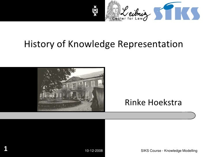 Rinke Hoekstra<br />History of Knowledge Representation<br />10-12-2008<br />SIKS Course - Knowledge Modelling<br />1<br />