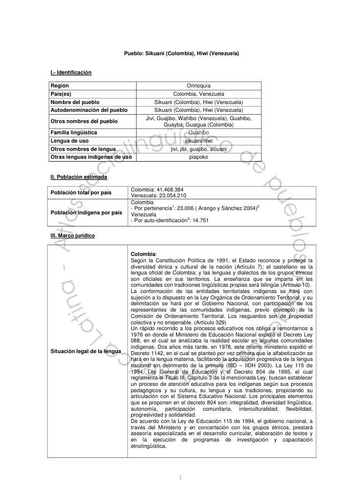 Pueblo: Sikuani (Colombia), Hiwi (Venezuela)I.- IdentificaciónRegión                                                   Ori...