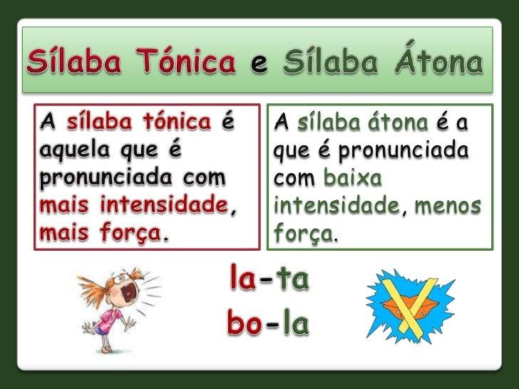 A sílaba átona é aque é pronunciadacom baixaintensidade, menosforça.