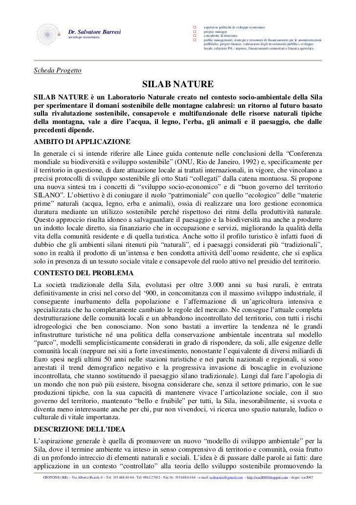 esperto in politiche di sviluppo economico                   Dr. Salvatore Barresi                                        ...