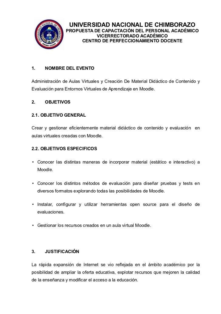 UNIVERSIDAD NACIONAL DE CHIMBORAZO                     PROPUESTA DE CAPACTACIÓN DEL PERSONAL ACADÉMICO                    ...