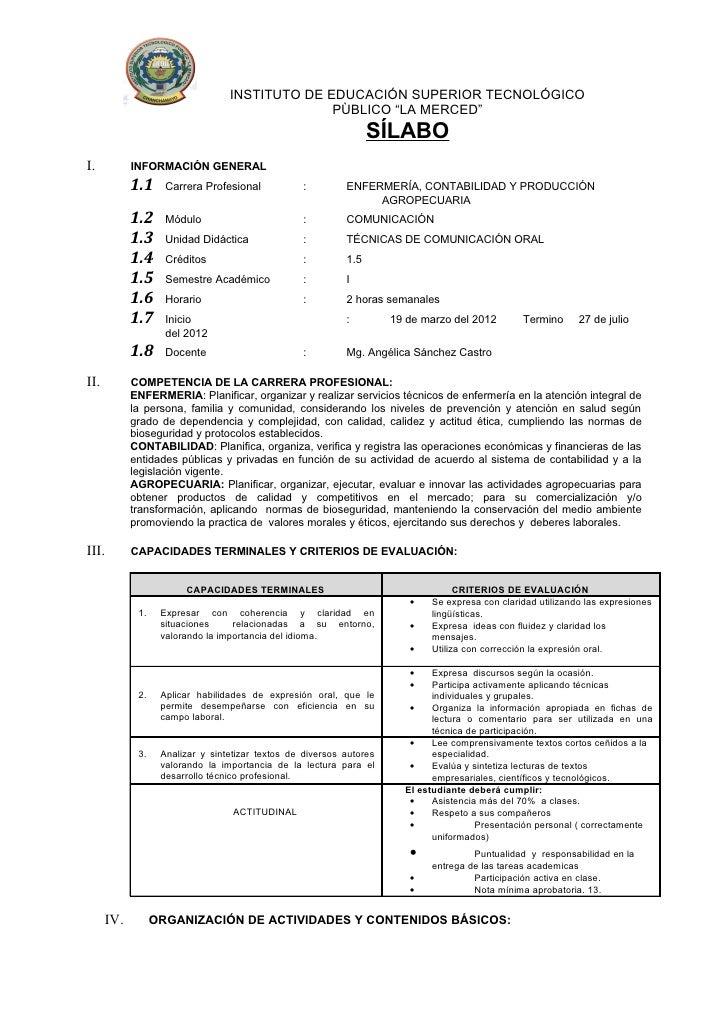 """INSTITUTO DE EDUCACIÓN SUPERIOR TECNOLÓGICO                                                PÙBLICO """"LA MERCED""""            ..."""