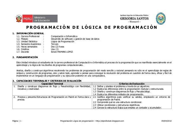 Página   1 Programación Lógica de programación – http://elprofedwin.blogspot.com 09/04/2013P R O G R A M A C I Ó N D E L Ó...
