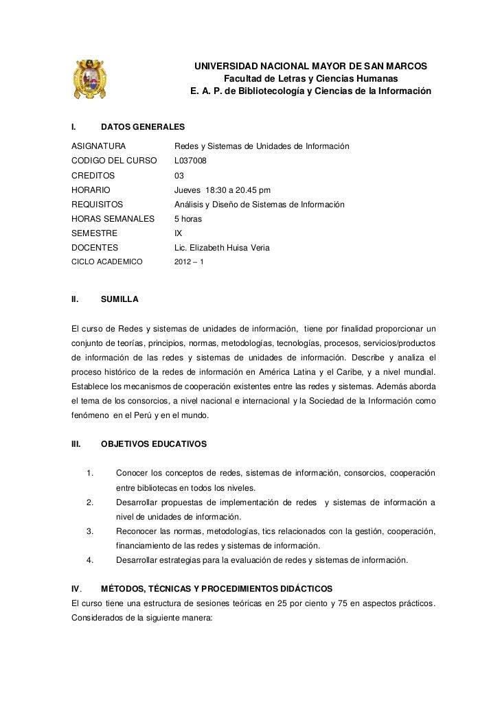 UNIVERSIDAD NACIONAL MAYOR DE SAN MARCOS                                            Facultad de Letras y Ciencias Humanas ...