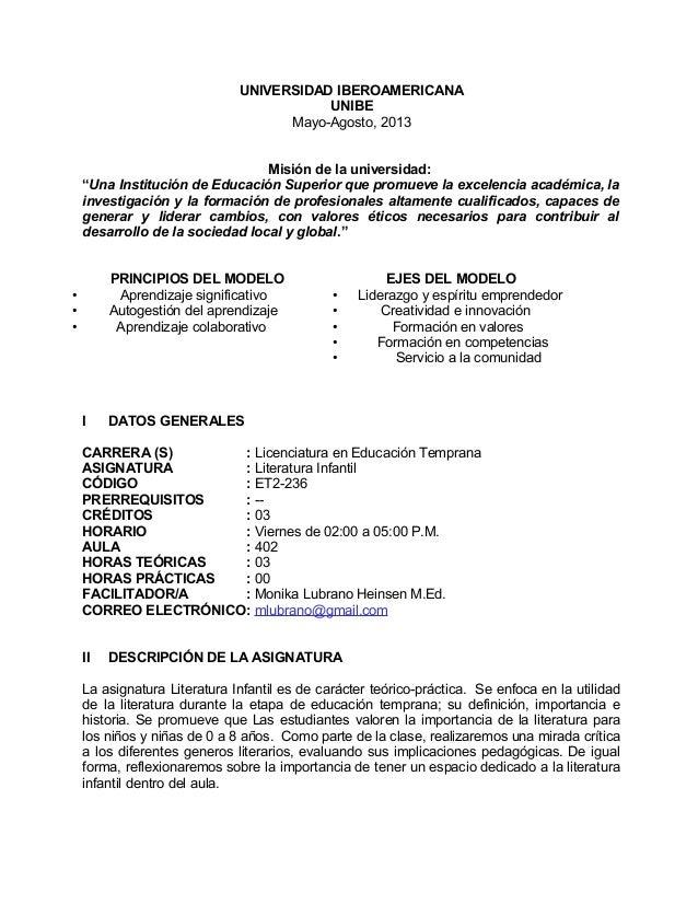 """UNIVERSIDAD IBEROAMERICANA UNIBE Mayo-Agosto, 2013 Misión de la universidad: """"Una Institución de Educación Superior que pr..."""
