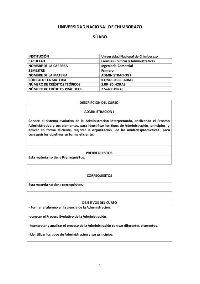 1 UNIVERSIDAD NACIONAL DE CHIMBORAZO SÍLABO INSTITUCIÓN Universidad Nacional de Chimborazo FACULTAD Ciencias Políticas y A...