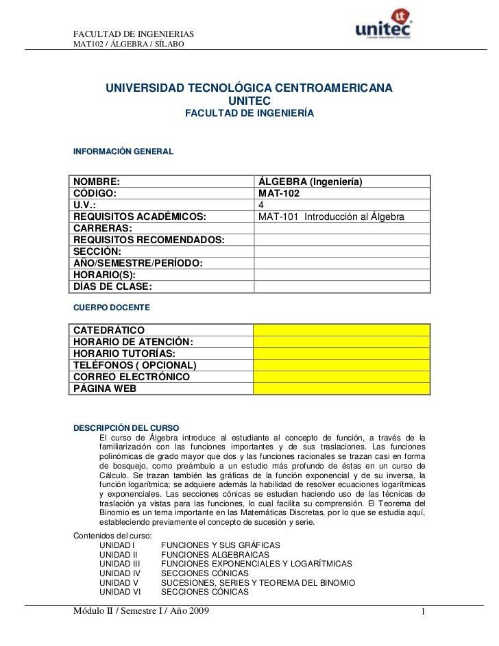 FACULTAD DE INGENIERIASMAT102 / ÁLGEBRA / SÍLABO        UNIVERSIDAD TECNOLÓGICA CENTROAMERICANA                         UN...