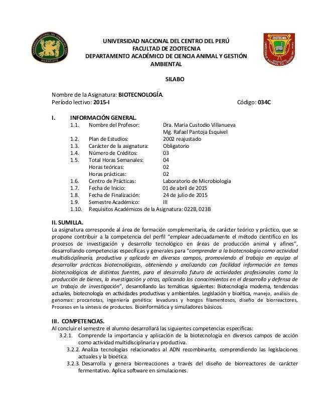 UNIVERSIDAD NACIONAL DEL CENTRO DEL PERÚ FACULTAD DE ZOOTECNIA DEPARTAMENTO ACADÉMICO DE CIENCIA ANIMAL Y GESTIÓN AMBIENTA...
