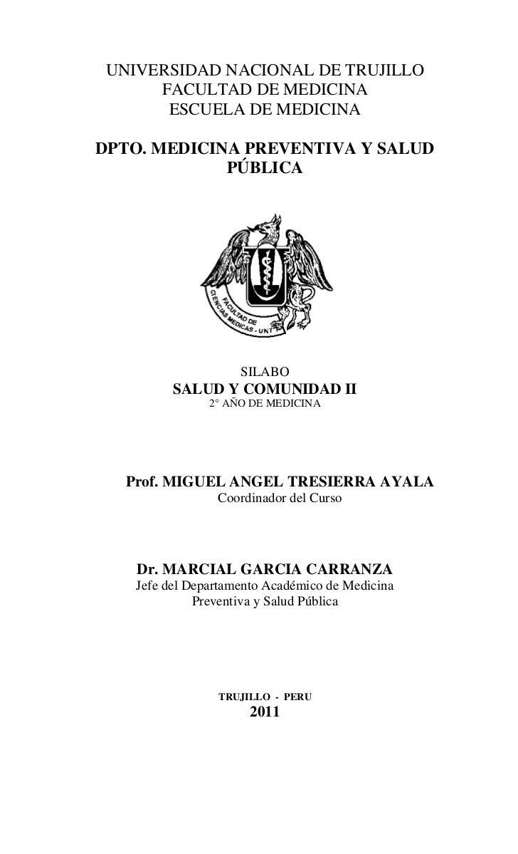 UNIVERSIDAD NACIONAL DE TRUJILLO      FACULTAD DE MEDICINA       ESCUELA DE MEDICINADPTO. MEDICINA PREVENTIVA Y SALUD     ...