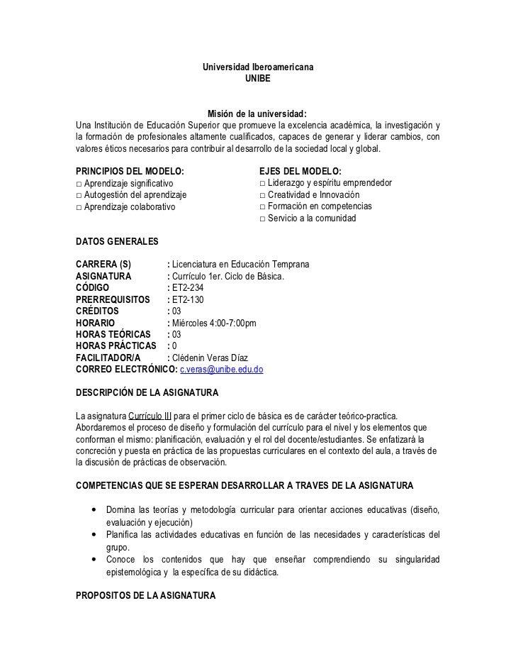 Universidad Iberoamericana                                            UNIBE                                   Misión de la...