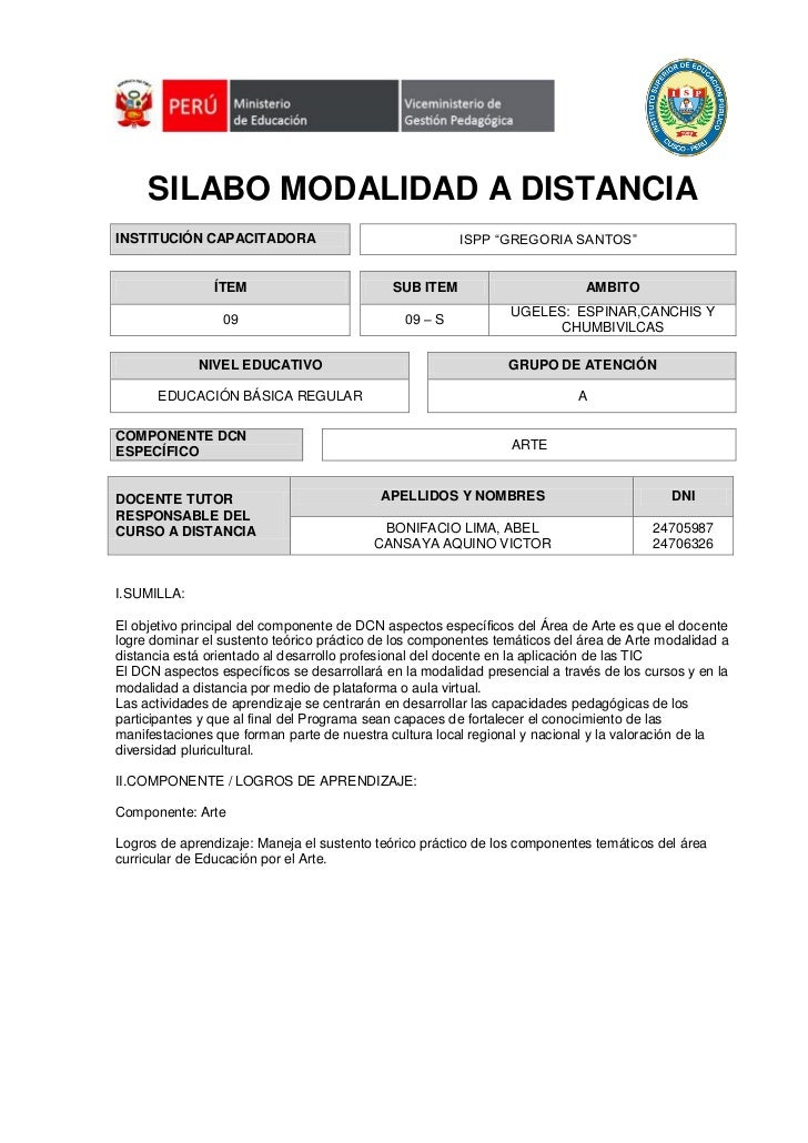 """SILABO MODALIDAD A DISTANCIAINSTITUCIÓN CAPACITADORA                                ISPP """"GREGORIA SANTOS""""                ..."""