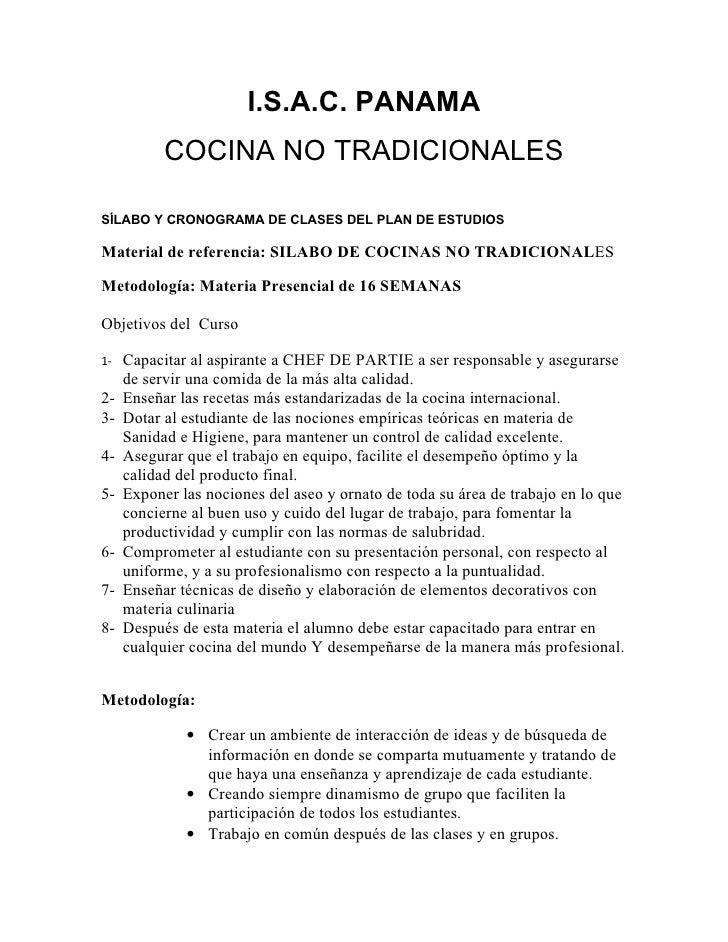 I.S.A.C. PANAMA           COCINA NO TRADICIONALESSÍLABO Y CRONOGRAMA DE CLASES DEL PLAN DE ESTUDIOSMaterial de referencia:...
