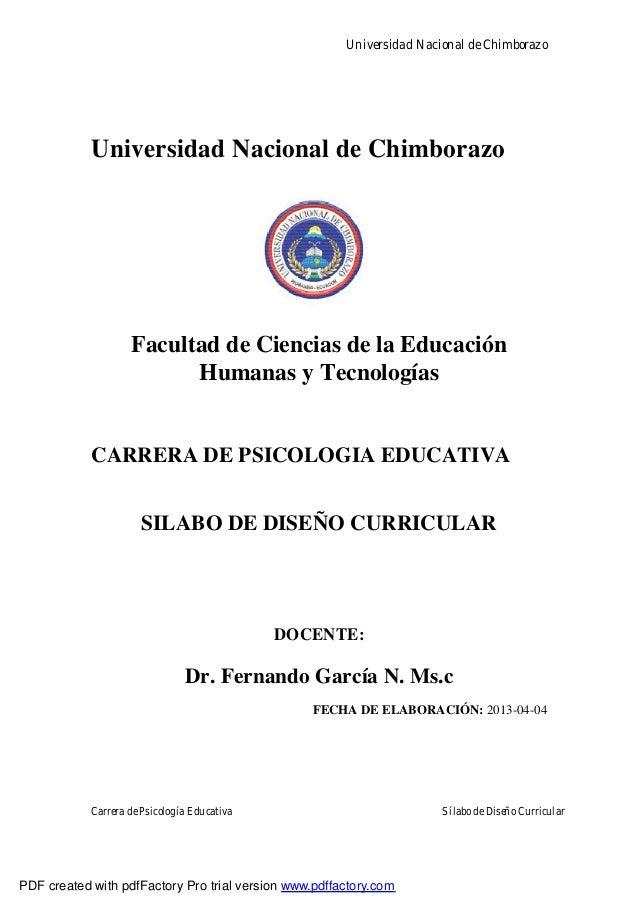 Universidad Nacional de ChimborazoCarrera de Psicología Educativa Sílabo de Diseño CurricularUniversidad Nacional de Chimb...