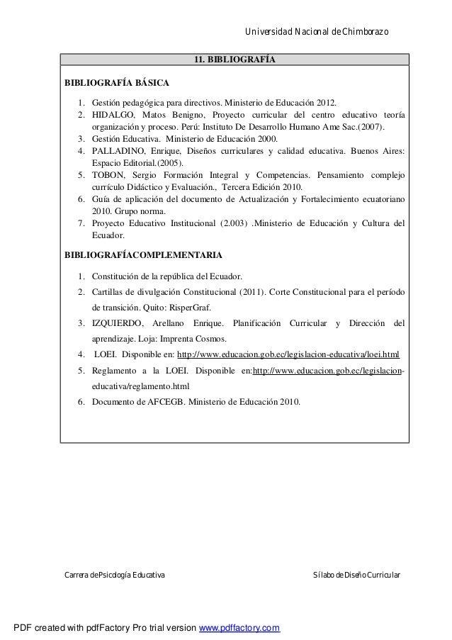 Universidad Nacional de ChimborazoCarrera de Psicología Educativa Sílabo de Diseño Curricular11. BIBLIOGRAFÍABIBLIOGRAFÍA ...