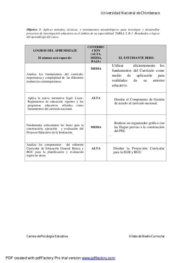 Universidad Nacional de ChimborazoCarrera de Psicología Educativa Sílabo de Diseño CurricularObjetivo 3: Aplicar métodos, ...