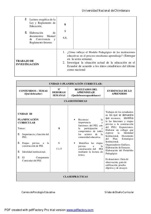 Universidad Nacional de ChimborazoCarrera de Psicología Educativa Sílabo de Diseño Curricular§ Lectura exegética de laLey ...
