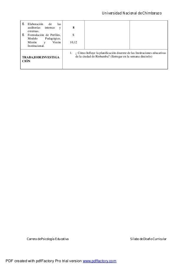 Universidad Nacional de ChimborazoCarrera de Psicología Educativa Sílabo de Diseño Curricular§ Elaboración de lasauditoría...