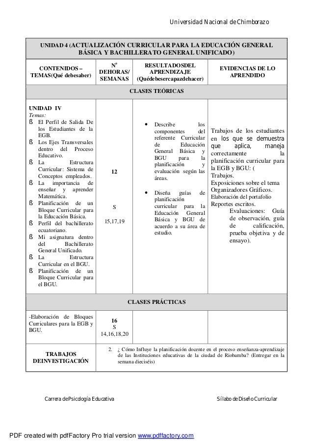 Universidad Nacional de ChimborazoCarrera de Psicología Educativa Sílabo de Diseño CurricularUNIDAD 4 (ACTUALIZACIÓN CURRI...