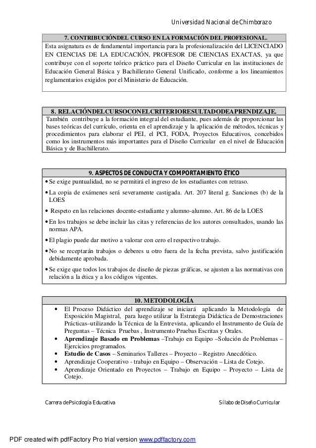 Universidad Nacional de ChimborazoCarrera de Psicología Educativa Sílabo de Diseño Curricular7. CONTRIBUCIÓNDEL CURSO EN L...
