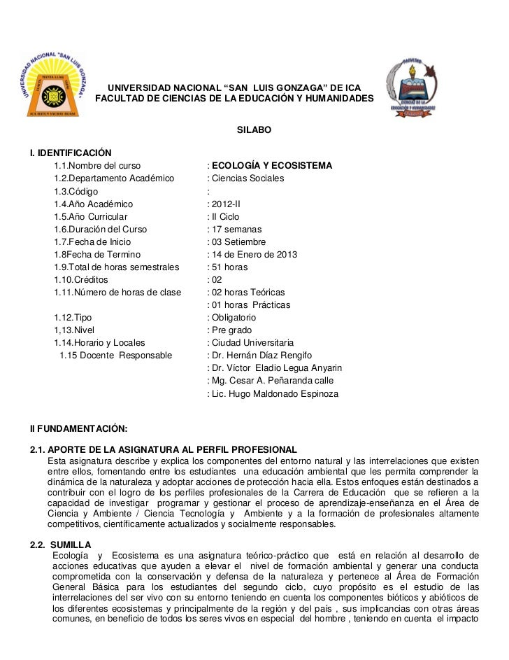 """UNIVERSIDAD NACIONAL """"SAN LUIS GONZAGA"""" DE ICA               FACULTAD DE CIENCIAS DE LA EDUCACIÓN Y HUMANIDADES           ..."""