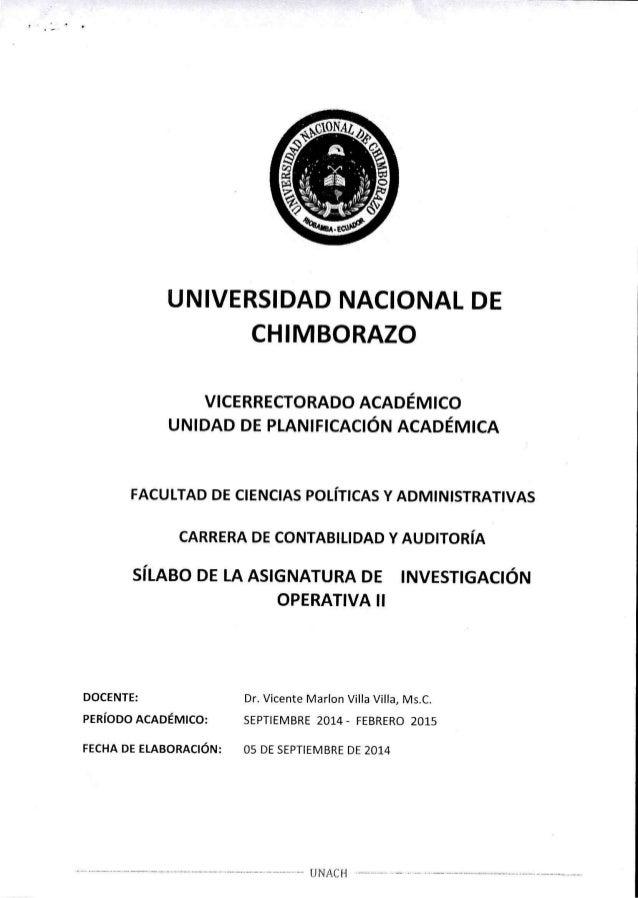 UNIVERSIDAD NACIONAL DE CHIMBORAZO  VICERRECTORADO ACADÊMICO UNIDAD DE PLANIFICACIÓN ACADÊMICA  FACULTAD DE CIENCIAS POLÍT...