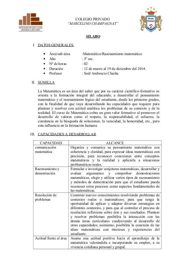 """COLEGIO PRIVADO  """"MARCELINO CHAMPAGNAT""""  SILABO  I. DATOS GENERALES.  · Área/sub-área :Matemático/Razonamiento matemático ..."""